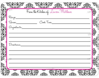 Personalized Recipe Cards,Damask Recipe cards,Flourish Scroll recipe cards,Kitchen Recipes,Cooking,Baking,Set of 12 Recipe cards