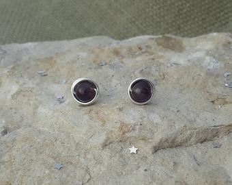 Amethyst Stud Earrings, Sterling Silver Amethyst Stud Earrings, Tarnish Resistant Sterling Silver Amethyst Earrings Argentium Studs