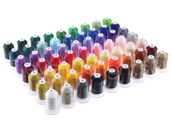 63 Colors - 1100Yd Embroidery Machine Thread Spools - 40 Weight (120D/2) Premium Polyester Thread - For Home and Commercial Embroidery