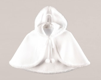 Cute Winter Baby Cape White Baptism Pelerine Christening Mantle, Winter cape coat