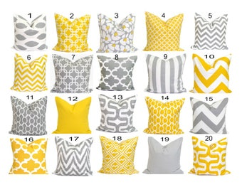 Pillow Cover.Decorative Pillow Cover, Yellow Pillow. Throw Pillow, Gray Pillow, Accent Pillow, Cushion Cover, Grey, 16x16 inch Sale Pillows