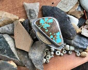 Extra Large Sterling and Royston Turquoise Goddess Statement Ring
