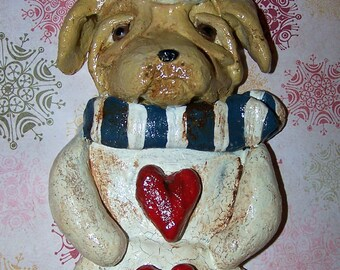 Folk Art Primitive Yellow Labrador Lab Dog Snowman Ornament Ooak Vintage Nostaglic Style