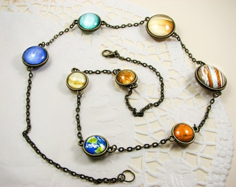 Solar system necklace, planet necklace, solar necklace, glass space jewelry, Double sided necklace, universe jewelry, galaxy jewelry, cosmic
