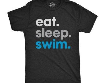 Eat Sleep Swim T Shirt, Lifeguard Shirts, Shirt For Swimmer, Eat Sleep Swim, Funny Swimming Shirt, Mens Swimming Shirt