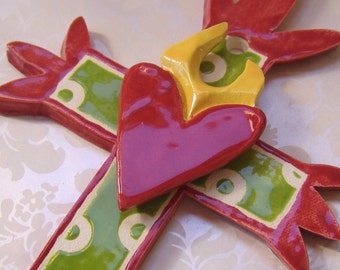 ceramic Cross with sacred heart, polka dots :) Watermelon red & Lime green colorful pottery hostess gift