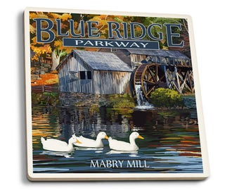 Blue Ridge Parkway, VA - Mabry Mill - LP Artwork (Set of 4 Ceramic Coasters)