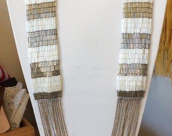 FIONA PAXTON White and Silver Beaded Artisan Multi-chain Necklace