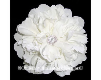 Diamond White Flower Hair Clip, Peony Hair Flower with Rhinestone Center