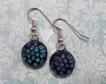 Polka Dot Earrings, Dangle Hypoallergenic Earrings, Black Green Blue, Dichroic Earrings, Casual Jewelry, Fused Glass Jewelry - Claire -6
