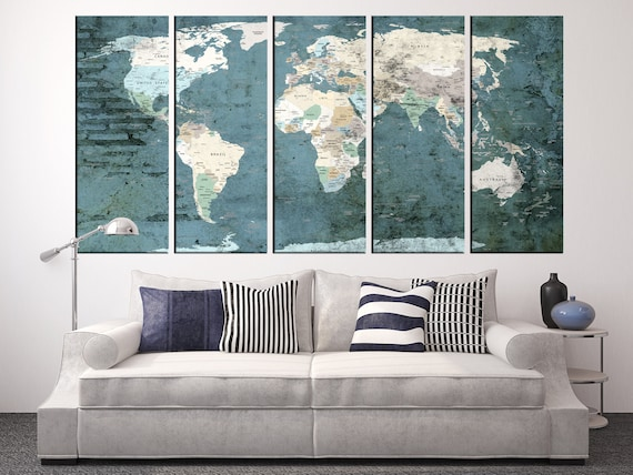 Large world map wall art old world travel map wall art print like this item gumiabroncs Images