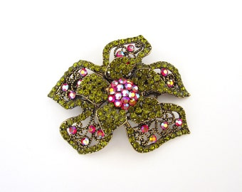 Crystal Flower Hair Accessory Barrette Clip Gold Tone Olive Green Red AB