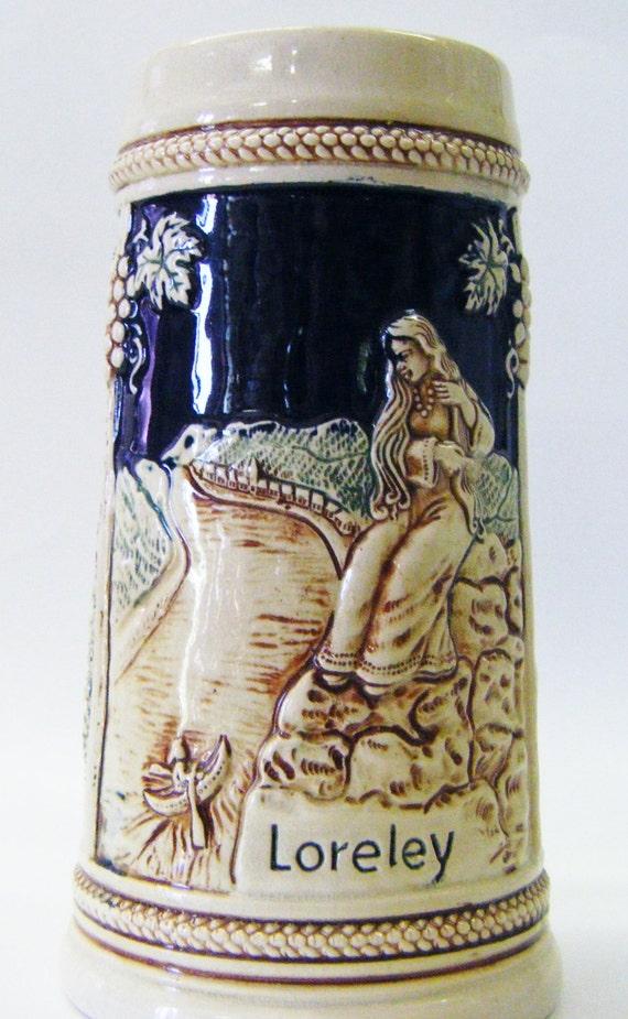 Vintage West German Half Liter High Relief Cobalt Loreley Drachenfels Niederwald