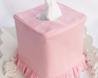 Pink Linen ruffled tissue box cover