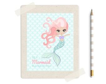 Mermaid Print, Mermaid Printable, Girls Nursery Decor, Nursery Wall Art, Mermaid Poster, Girls Room Decor, Instant Download