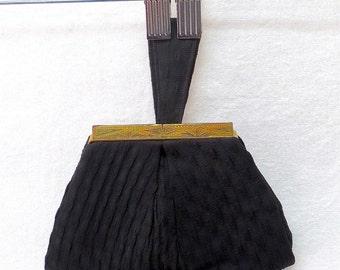 1930s Vintage Silk Crepe Clutch / Black Etched Gold Closure Handbag