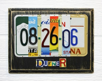 10 Year Anniversary License Plate Sign - Gift of Tin or Aluminum - Gift for Him - Gift for Her - Wedding Anniversary Gift - Gift for Men