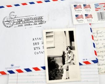 Custom Address Stamp, Self Ink Return Address Stamp, Custom Address Stamps, Self Inking Personalized Stamps, Vintage, Airmail Postal Stamp
