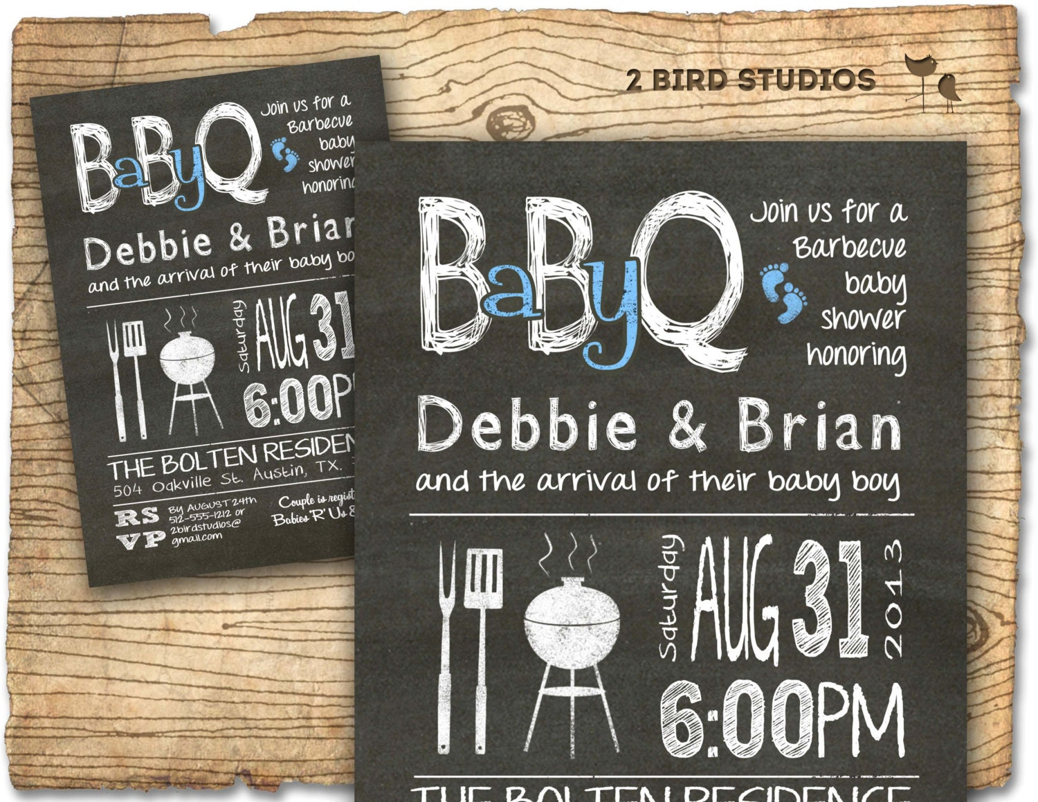 Baby Q Baby shower invitation BBQ baby shower invite DIY
