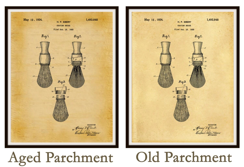 Patent 1924 Shaving Brush - Art Print - Bathroom Wall Art - Poster ...