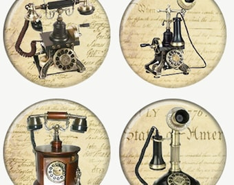 Vintage Telephones on Constitution Background Magnets or Pinback Buttons or Flatback Medallions Set of 4