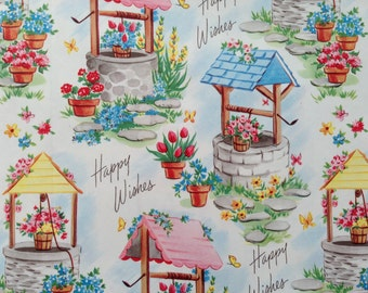 Vintage Gift Wrapping Paper -  Spring Wishing Wells - All Occasion - Floral Paper - Birthday, Bridal Shower - 1 Unused Full Sheet Gift Wrap