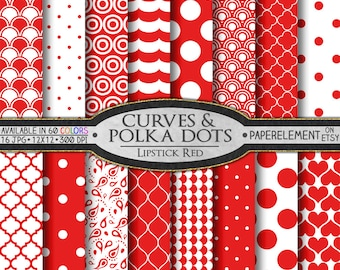 Red Geometric Digital Paper - Lipstick Red Printable Patterns with Bright Red Shapes - Instant Download Red Quatrefoil Designs