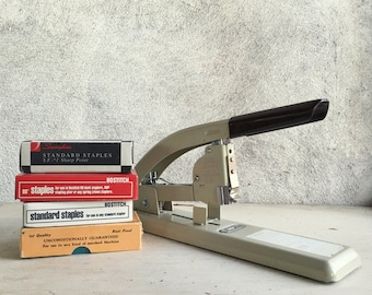1960s Strongarm Swingline stapler and Standard staples Made in USA vintage office photo prop