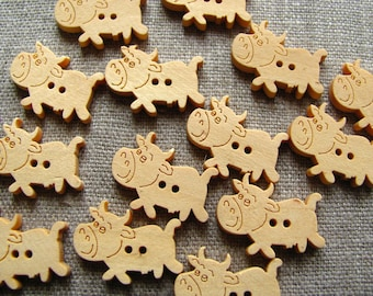 6 buttons cow wooden natural 15mm - 2 holes