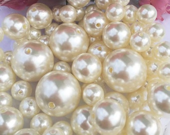 75pcs jumbo pearls assorted sizes vase filler table centerpiece ivory