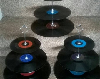 Retro vintage 3 tier vinyl record cake stands.