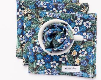 Pocket square «Myosotis» in Liberty of London silk - flower pattern blue and white - dapper gentleman - silk handkerchief