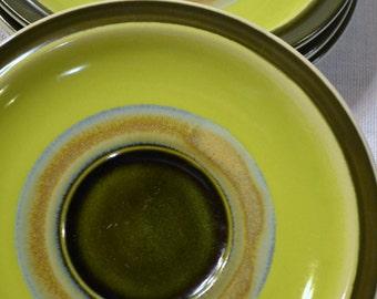 Vintage Casual Ceram Electra Ondine Saucer set of 4 Stoneware Japan Green Mandala 9029 PanchosPorch