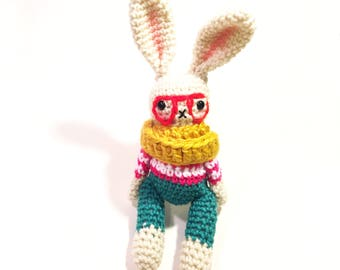 Hipster Rabbit Plush - Bunny Plush - Easter Gift - Hipster Fashion - Amigurumi Rabbit - Crochet Bunny - Easter Bunny - MADE TO ORDER
