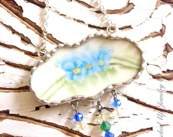 Broken China Jewelry,  Broken China Necklace, Hand Painted Blue Floral China Pattern Necklace