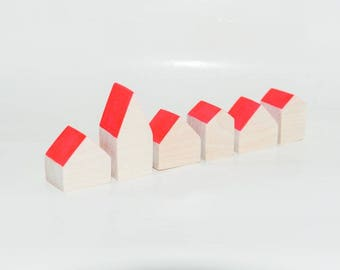 Miniature wooden houses. Set of 6 pieces. The small village for home decor. Carmin roof