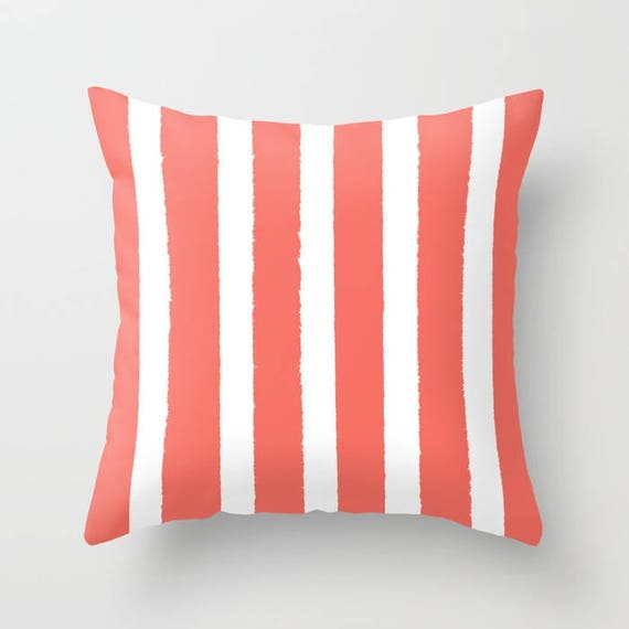 Coral and White Striped Throw Pillow . Salmon Pillow . Cushion . Stripe Pillow . Coral striped Pillow . Coral Cushion 14 16 18 20 inch