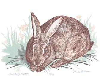 Nursery Woodland Art, Bunny Linocut, Free Shipping
