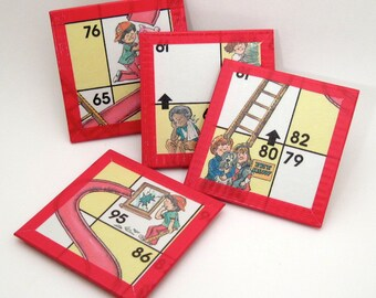 Board Game Coaster Set - Chutes and Ladders Coasters - Recycled Coasters - Childrens Game