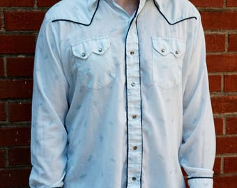 Vintage mens western shirt/Bull riders/pearl snap/light blue/