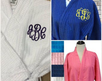 Thick monogrammed robes - bridesmaid robes, bridal robes, waffle weave robes, terry cloth robes