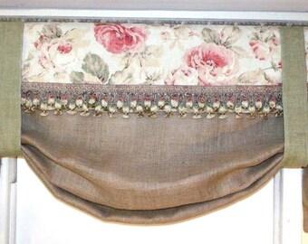 Custom Made Reversible French Farmhouse Ballard Designs Fabric + Burlap Valance