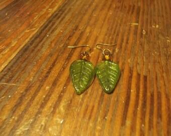 Beaded Glass Leaf Earrings