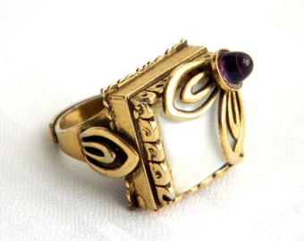 Vintage Edwardian Gold Mother of Pearl and Amethyst Ring - MOP - Layered 3 Dimensional - Adjustable - Statement