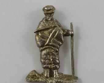 Scottish Shepherd Sterling Silver Vintage Charm For Bracelet