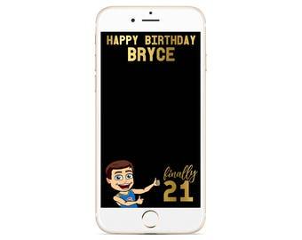 Bitmoji Snachat Geofilter - 21st Snapchat Filter - Twenty One Birthday Geofilter - Custom Bitmoji Filter - Gold Snapchat Birthday