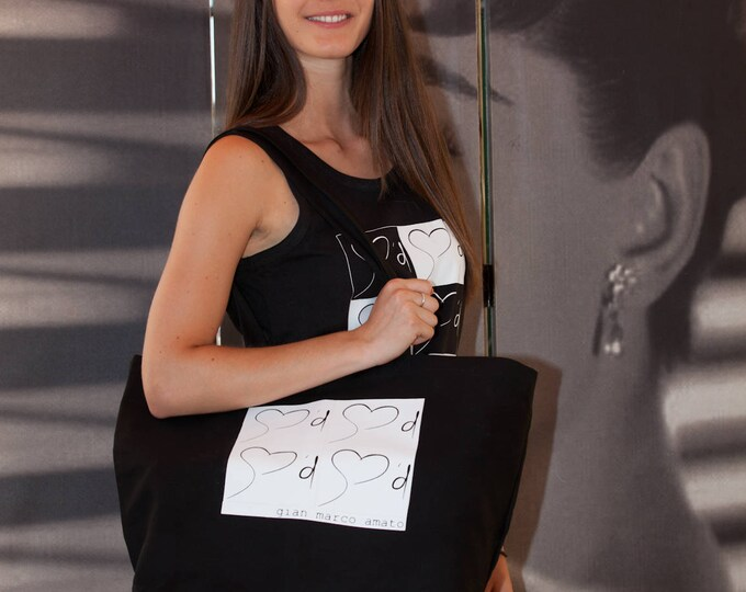 Gian Marco Amato - Large Tote black bag. 100% cotton.