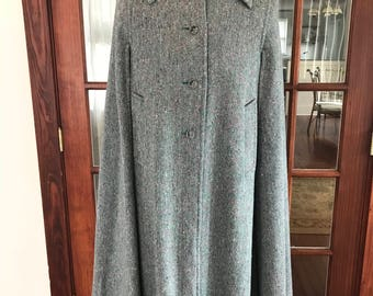 Vintage Donegal Irish Handwoven Tweed Long Cape Coat Made In Dublin