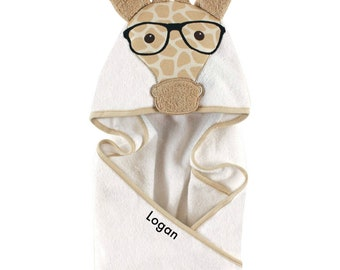 Personalized Animal Hooded Baby Towel, Boy Giraffe Hooded Bath Towel, Toddler Hooded Bath Towels   Baby Hooded Beach Towel   Baby Boy Gift