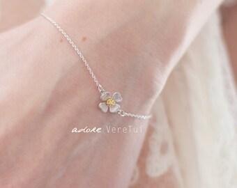 Petite Pretty Dainty Silver Flower Bracelet